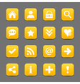 Yellow satin icon web button with white basic sign vector image