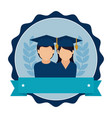 stamp frame with couple people graduated and vector image