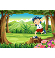 A playful young man above the stump at the forest vector image vector image