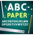 Cut Out Paper Alphabet and Equipment Set vector image vector image