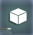 cube icon On the blue-green abstract background vector image