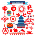 decorative icons and chinese travel symbols vector image