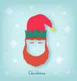 face of a christmas elf with a red beard vector image