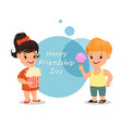 Happy friendship day smiling girl with popcorn vector image