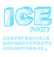 Ice font Cold letters Transparent blue alphabet vector image