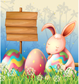 A bunny in the woods and the empty board vector image vector image