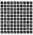 100 internet icons set grunge style vector image
