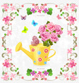 cute can watering with bouquet of lovely roses vector image