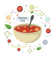 delicious food soup nutritional diet spoon poster vector image