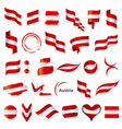 biggest collection of flag of Austria vector image vector image