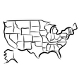 USA sketch map vector image vector image