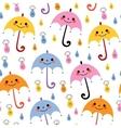 cute umbrellas raindrops seamless rain pattern vector image