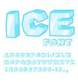 Ice font Cold letters Transparent blue alphabet vector image