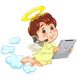 little baby angel with tablet vector image
