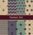 Set of 8 simple floral and geometrical patterns vector image