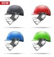 Set of Cricket Helmets Side View vector image