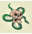 Skull and snake tattoo vector image