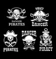 pirates black flags set jolly roger symbol vector image vector image