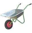 Gardening wheelbarrow on one wheel The empty vector image vector image