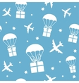 Cartoon airplanes and parachutes with gift boxes vector image