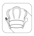 square shape with silhouette chef hat and cutlery vector image