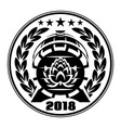 wooden beer barrel emblem of vector image