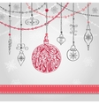 Christmas ballgarlands in greating card vector image