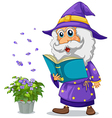 A wizard holding a book beside a pot with plant vector image vector image
