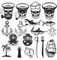 set of nautical elements anchor fish shark ship vector image