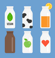 bottle icon set collection vector image