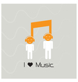 Creative music note sign and silhouette people vector image