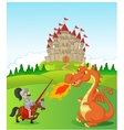 Cartoon knight with fierce dragon vector image