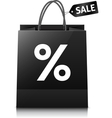 Black shopping bag with sale tag and big white vector image vector image