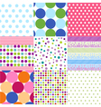seamless patterns - polka dot set vector image vector image
