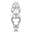 line professional nurse with heart in tha hands vector image