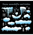 Set Snow snowdrifts and icicles vector image
