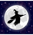 silhouette of a witch full moon vector image