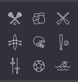 sports and games line icons set vector image