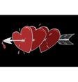 Three hearts and the arrow vector image