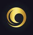 water wave round swirl gold logo vector image