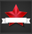 Red shining five-pointed star on metallic vector image