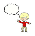cartoon panicking boy with thought bubble vector image