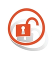 Unlocked sign sticker orange vector image