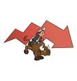Businessman on bull 4 vector image