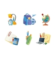 icons set of school elements vector image