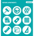 set of round icons white Repairs apartments vector image