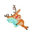 Deer Sleeping on Pillow Isolated Reindeer Sleeps vector image