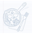 Fried eggs with bacon on frying pan vector image