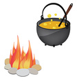 Magic kettle and campfire vector image