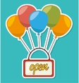 Open advert with balloons flying vector image